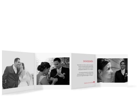 Danksagungen zur Hochzeit München City, Innenseiten in rot