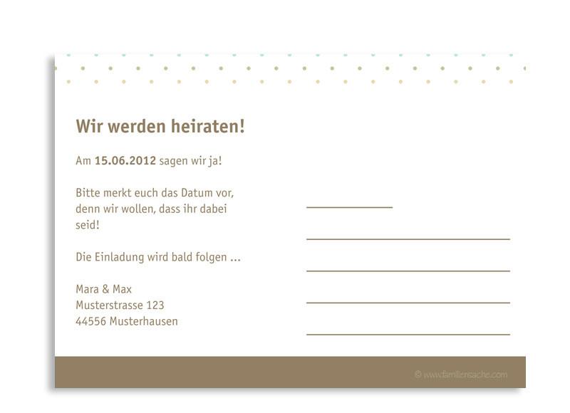 Schön ... Rückseite, Einladungs Postkarte Zur Hochzeit, Motiv Prag, Farbversion:  Beige