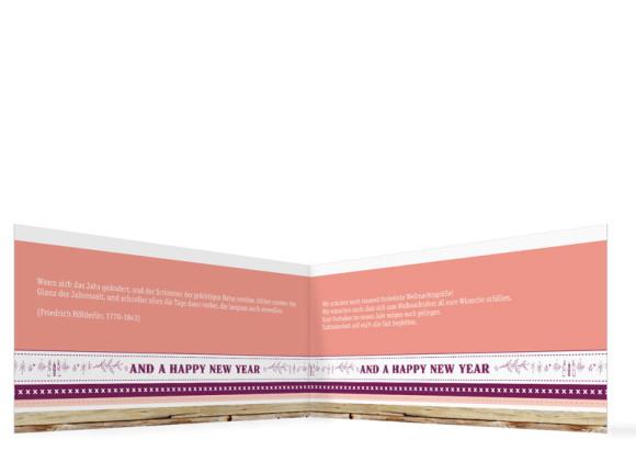 Firmen-Weihnachtskarte Weihnachtsband, Innenansicht in der Farbversion: brombeer/apricot