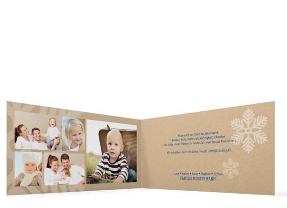 Weihnachtskarten Eissterne,Innenansicht in Blau
