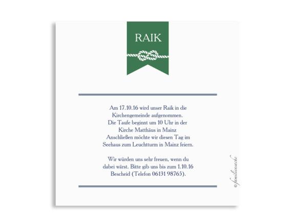 Taufeinladung Rike/Raik, Rückseite in grün