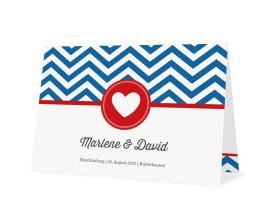 Hochzeitseinladungen Hamptons Heart (Öffnung unten) Blau/Rot