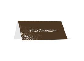 Tischkarte zur Hochzeit Wien (Klappkärtchen quer) Braun