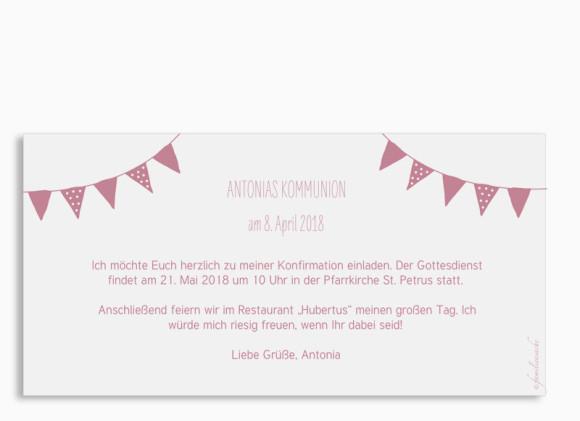 Einladungskarte zur Kommunion (Postkarte), Motiv: Frühlingsfrisch, Rückansicht, Farbvariante: altrosa