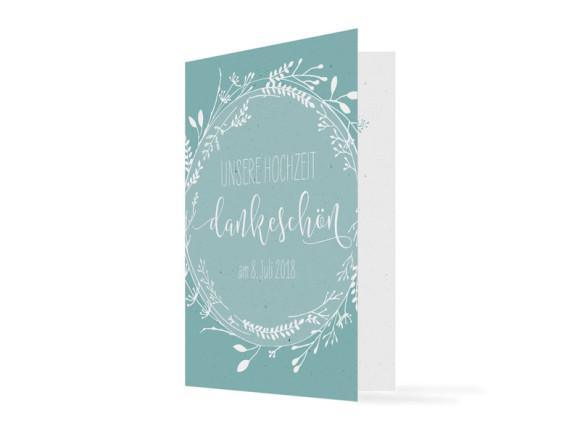 Danksagungskarten zur Hochzeit Blumenkranz