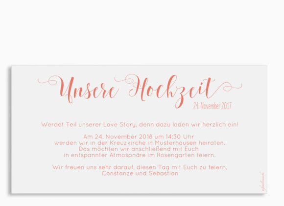 Hochzeitseinladung Cannes Pure, Postkarte DL quer, Rückansicht in apricot