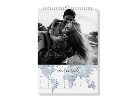 Wandkalender A4 - Spiralbindung, Motiv: Weltkarte, Rückseite, Farbvariante: graublau
