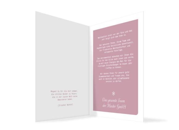 Firmen-Weihnachtskarten Eiskristall, Innenansicht der Farbversion: rosé