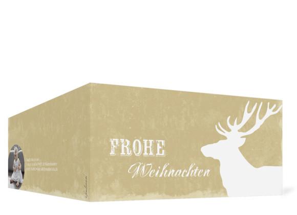 Weihnachtskarte HolyMoose (Klappkarte, DL), Außenansicht in der Farbvariante: weiß