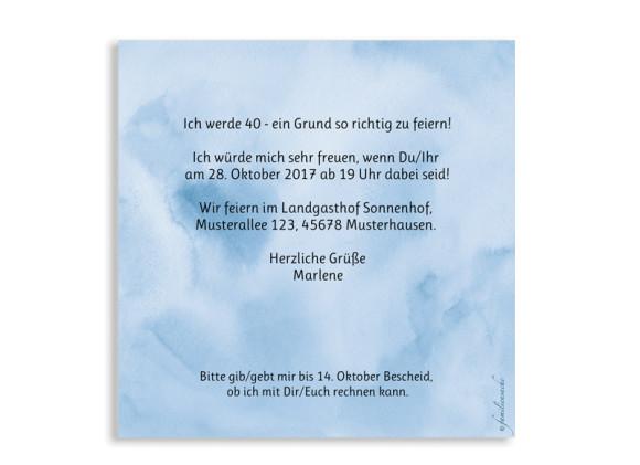 Einladung 40. Geburtstag, Motiv: Dots 'n Stripes, (quadratische Postkarte), Rückseite, Farbvariante:  dunkelblau