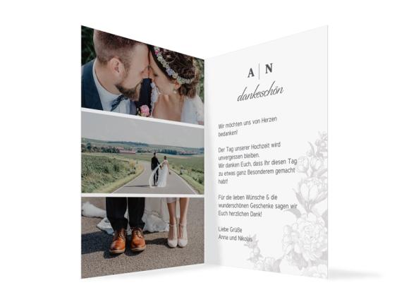 Danksagungskarten Hochzeit (Klappkarte A6, mit Fotos), Motiv: Bukarest, Innenansicht, Farbvariante: anthrazit