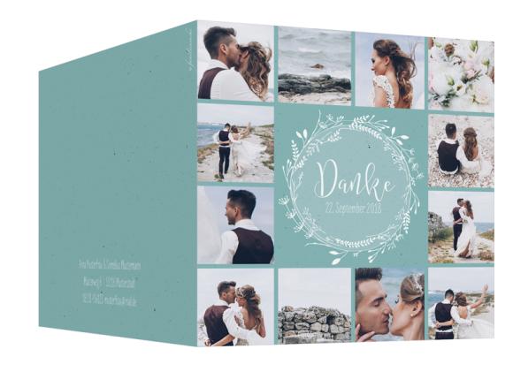 Danksagungen zur Hochzeit (Klappkarte quadratisch, mit 13 Fotos), Motiv: Blumenkranz, Aussenansicht, Farbvariante: tuerkis