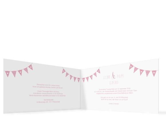 Hochzeitseinladung Malmö, Klappkarte DL quer, Innenansicht in rosa