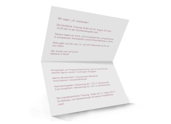 Einladung zur Hochzeit (Klappkarte A6 - unten offen), Motiv: Liebe, Innenansicht, Farbvariante: altrosa