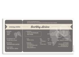 Einladungen zur Hochzeit Flugticket (Postkarte) Beige