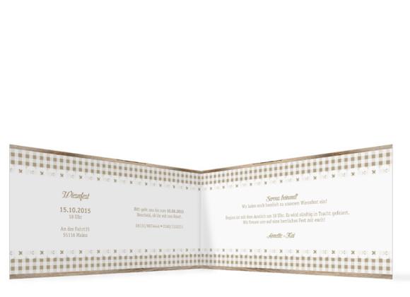 Einladungskarten Wiesn, Innenansicht der Farbversion: beige