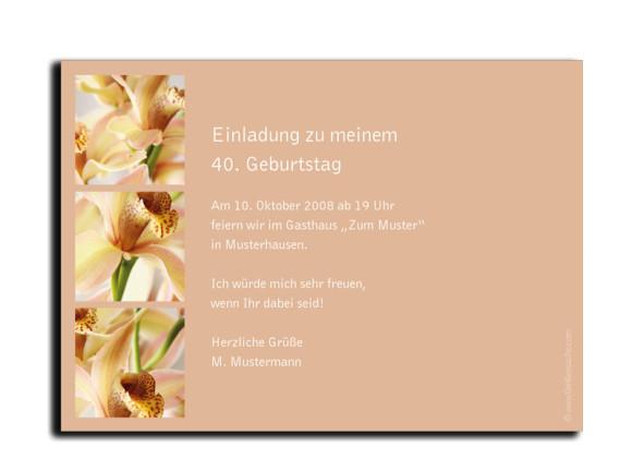 Rückseite, Einladung zum Geburtstag, Motiv Orchideen, Farbversion: beige
