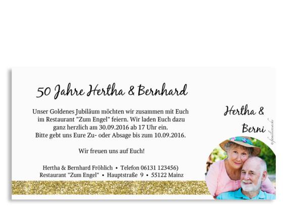 Einladungskarten zur Goldhochzeit, Rückseite in Goldanmutung