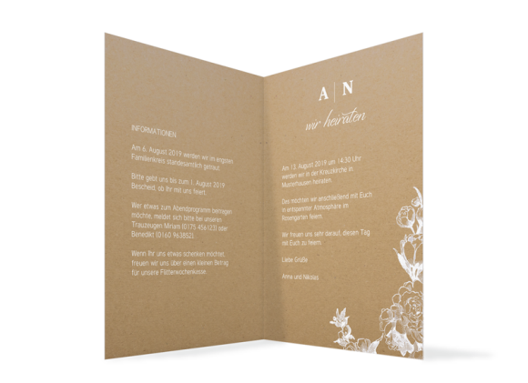 Hochzeitseinladung (Klappkarte A6, ohne Foto), Motiv: Bukarest Natural, Innenansicht, Farbvariante: weiß