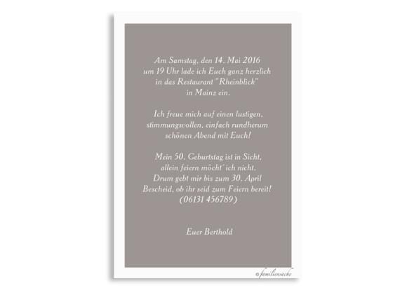 Einladungskarten zum Geburtstag Pusteblume Pastell, Rückseite in Taupe