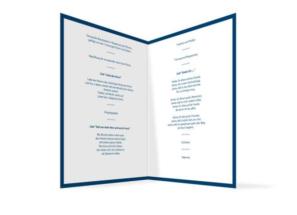 Innenansicht, Klappkarte zur Hochzeit (Kirchenheft), Motiv Bern, Farbversion: blau