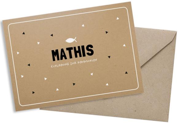 Kommunionseinladungen (Postkarte ohne Fotos), Motiv: Farbenfroh, mit Briefhülle, Farbvariante: schwarz