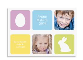 Karten für Ostergrüße Hasenei Flieder