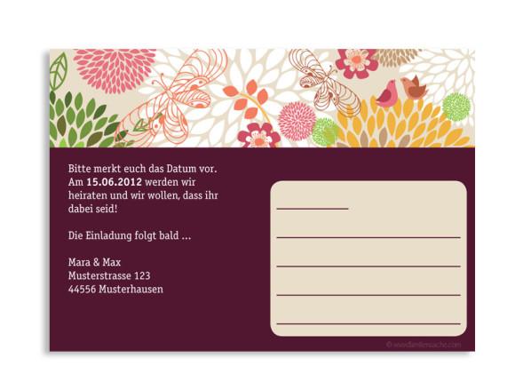 Rückseite, Einladungs-Postkarte zur Hochzeit, Motiv Lissabon, Farbversion: bordeaux