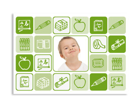 Einschulungskarte Schreibzeug (Postkarte) Grün