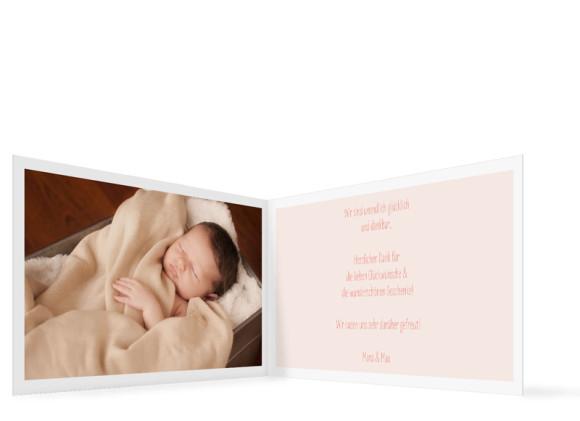 Geburtskarte (Klappkarte A6, quer), Motiv: Jette/Janik FRESH, Innenansicht, Farbversion: apricot