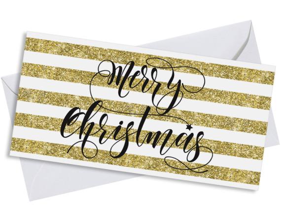 Firmen-Weihnachtskarte Copper Postkarte in gold, Umschlag