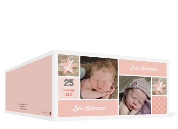 Geburtskarte für Zwillinge Lucia/Luca, Außenansicht in der Farbvariante: apricot