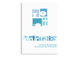 Konfirmationsdanksagungen Cora/Cornelius (Postkarte) Blau