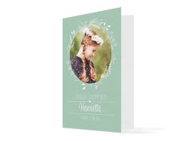 """Kommunionseinladung """"Henriette / Henry"""" (Klappkarte Hochformat mit Foto) gruen"""
