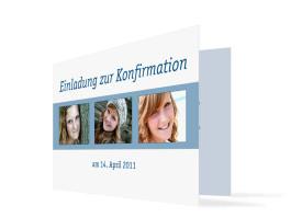 Einladung Jette/Jannik zur Konfirmation (Klappkarte C6) Blau