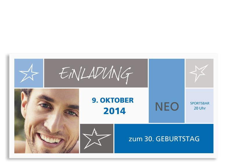 Geburtstagseinladungen Neo (Postkarte) Blau