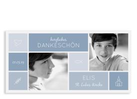 """Konfirmation Danksagung """"Bedeutung"""" (Karte quer) dunkelblau"""