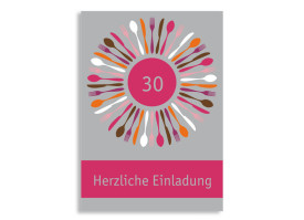 Einladung Besteck (Postkarte) Grau/Pink