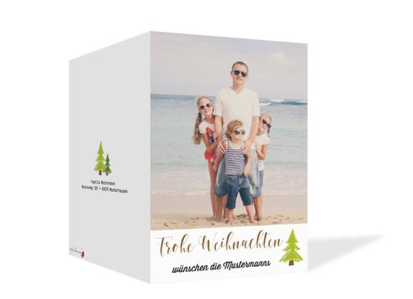 Weihnachtskarte Bäumchen, Außenansicht in der Farbversion braun