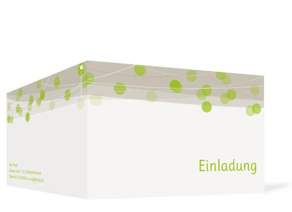 Einladungskarten Lampion, Außenansicht, Farbversion: grün
