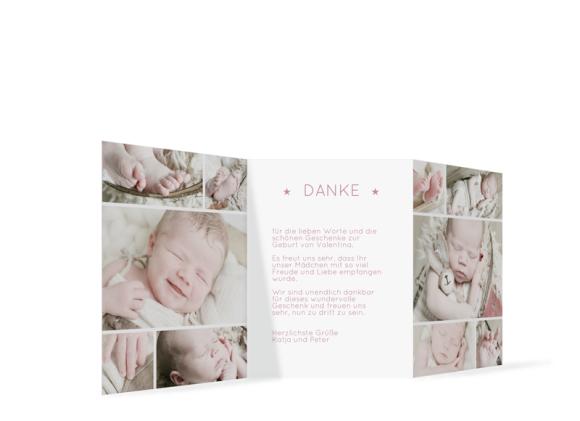 Geburtskarte Geburt (Leporello A6, 3-fach gefalzt), Motiv: Valentina/Vincent, Rückseite, Farbvariante: altrosa