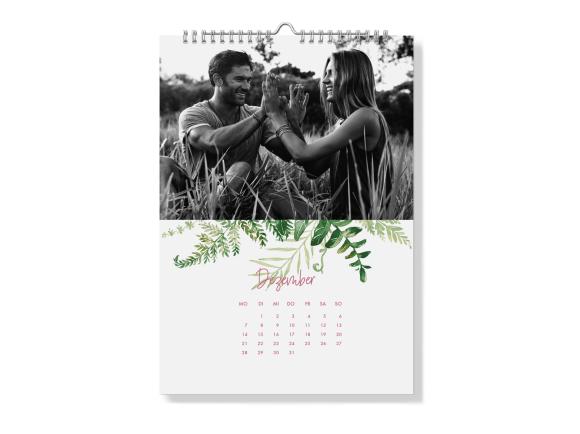 Wandkalender A4 - Spiralbindung, Motiv: Greenery, Rückseite, Farbvariante: altrosa