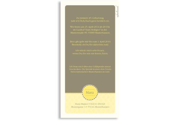 Rückseite der Einladungskarte Anniversary, Farbversion: gelb