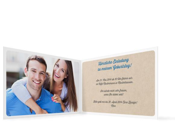 Einladungskarten, Motiv Wimpel, Innenansicht, Farbversion: blau/grün