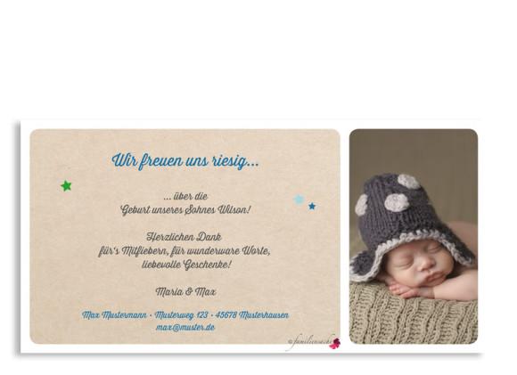 Geburtskarten, Motiv Wilma/Wilson, Rückseite, Farbversion: blau/grün