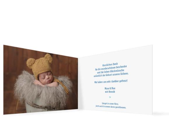 Geburtskarten, Motiv Hanna/Henrik, Innenansicht, Farbversion: blau