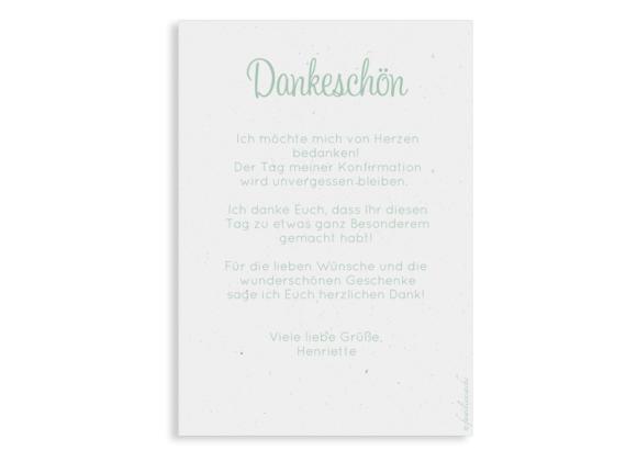 Konfirmationsdanksagung (Postkarte Hochformat mit Foto), Motiv: Henriette/Henry, Rückseite, Farbvariante: gruen