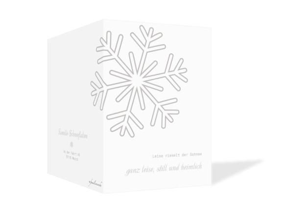 Weihnachtskarten Eiskristall, Außenansicht der Farbversion: grau