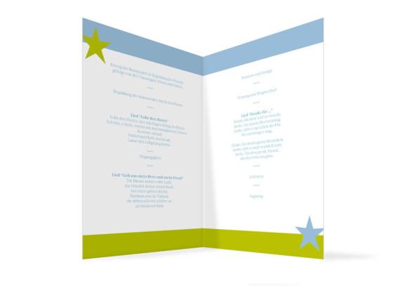 Innenansicht, Klappkarte zur Hochzeit (Kirchenheft), Motiv New York, Farbversion: blau-grün