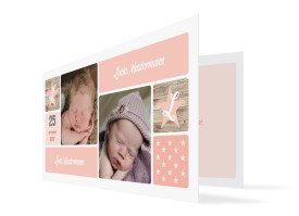 Geburtskarte für Zwillinge Lucia/Luca Apricot